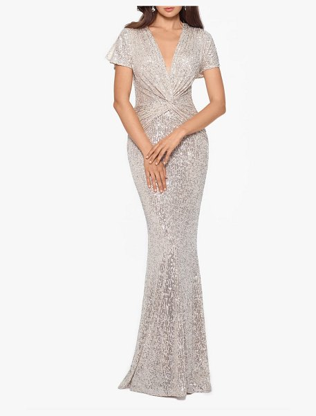 Xscape sequin twist front mermaid gown in beige