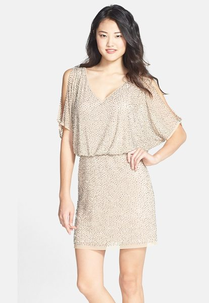 Xscape beaded cold shoulder blouson dress in blush - The fluid V-neck bodice and cold-shoulder sleeves of a...