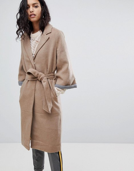 Y.a.s abbey wool blend belted duster coat in icedcoffee