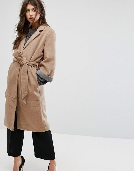 """Y.A.S Belted 3/4 Sleeve Coat - """"""""Coat by Y.A.S, Textured wool-mix fabric, Notch lapel,..."""