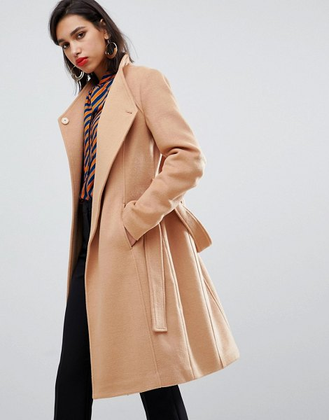 Y.a.s belted wrap coat in camel