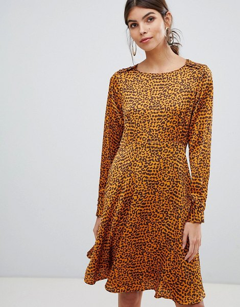 Y.a.s button detail animal swing mini dress in sudanbrownleoaop
