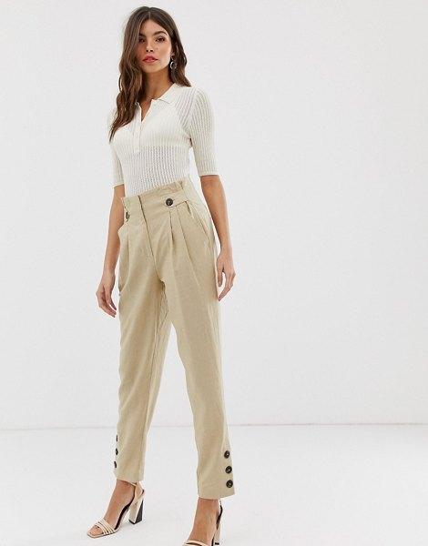 Y.a.s button detail peg pants in safari