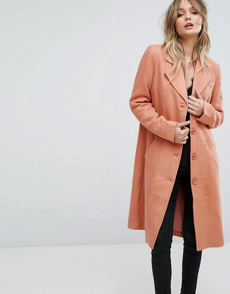 Y.a.s button down pea coat in pink