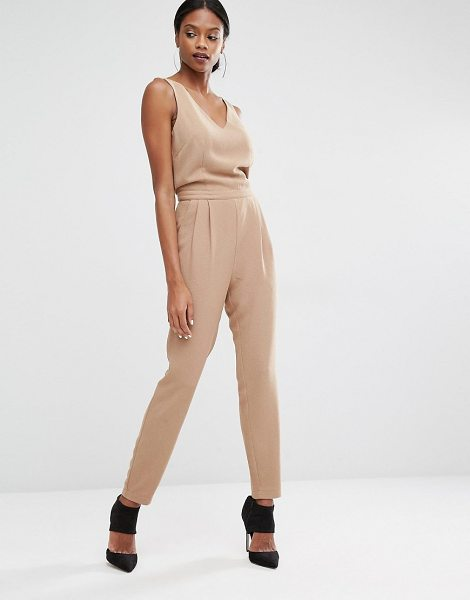 Y.a.s Diana jumpsuit in camel - Jumpsuit by Y.A.S. Woven fabric V-neckline High...