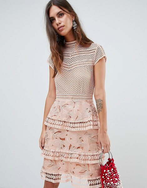 Y.a.s dress with tiered lace detailed mini skirt in pink in pink - Dress by Y.A.S, Cute, right? High neck, Crochet top,...