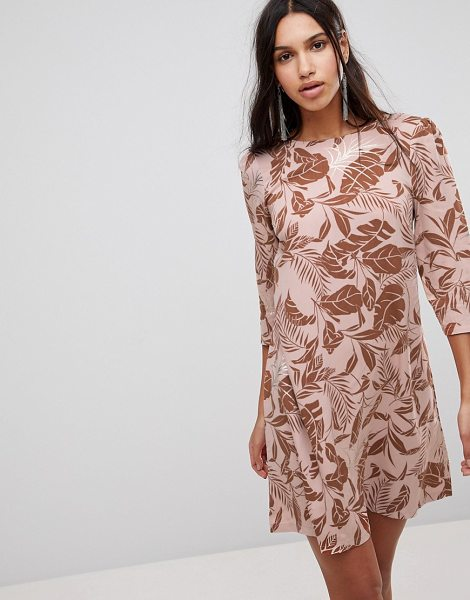 Y.a.s floral print shift dress in mahogonyrose