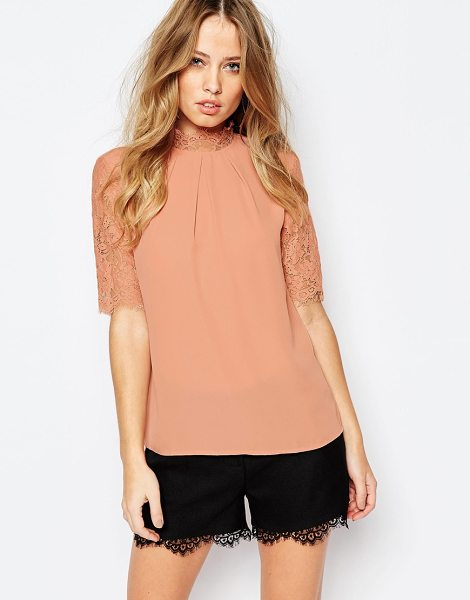 Y.a.s Faye top with lace sleeves in rose dawn - Top by Y.A.S. Smooth woven fabric Round neckline Lace...