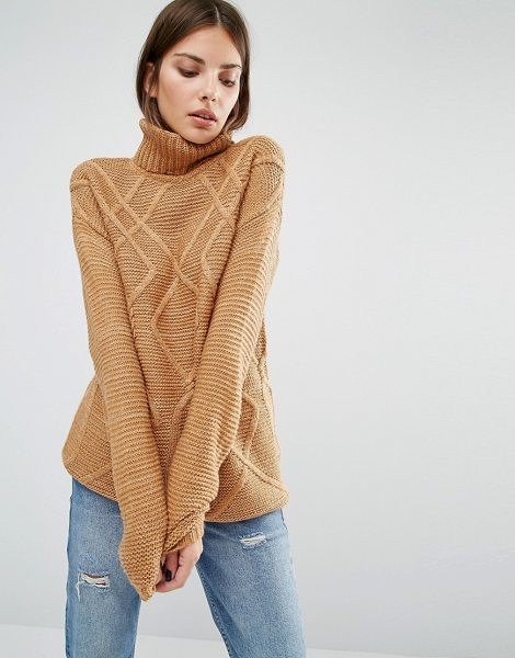 Y.a.s Fenya Oversized Rollneck in brown - Sweater by Y.A.S, Mohair wool-mix knit, Cable texture,...