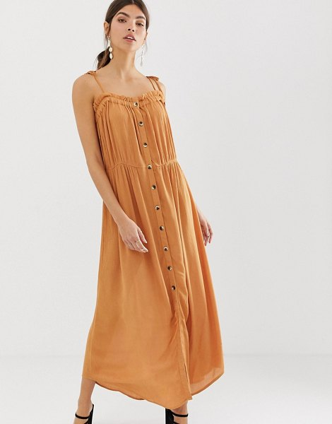 Y.a.s festival cheesecloth button through maxi dress in sudanbrown