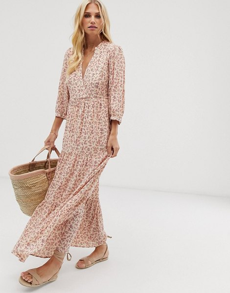 Y.a.s floral print maxi smock dress in sunkisswaop