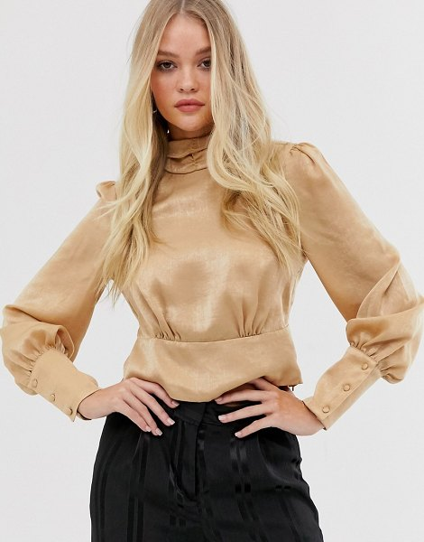 Y.a.s high neck blouse with volume sleeve-gold in gold