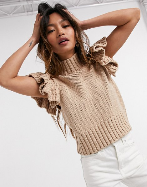 Y.a.s high neck knitted top with ruffle sleeve in camel-cream in cream