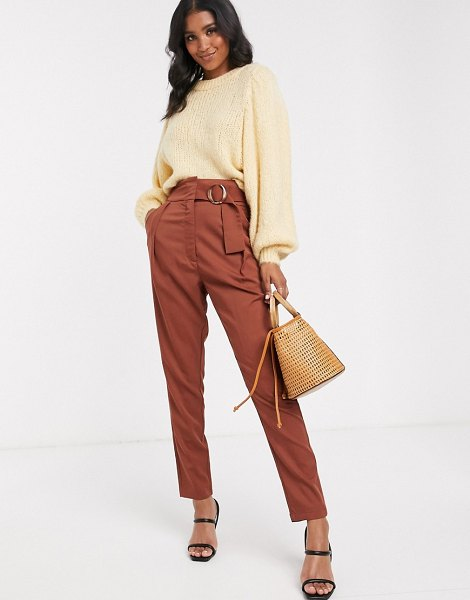 Y.a.s high waist wide leg pants with wide belt-brown in brown