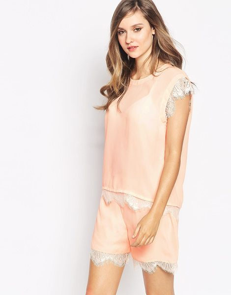 Y.a.s Insigma top with lace detail co-ord in pink - Top by Y.A.S. Semi-sheer chiffon Round neckline Eyelash...
