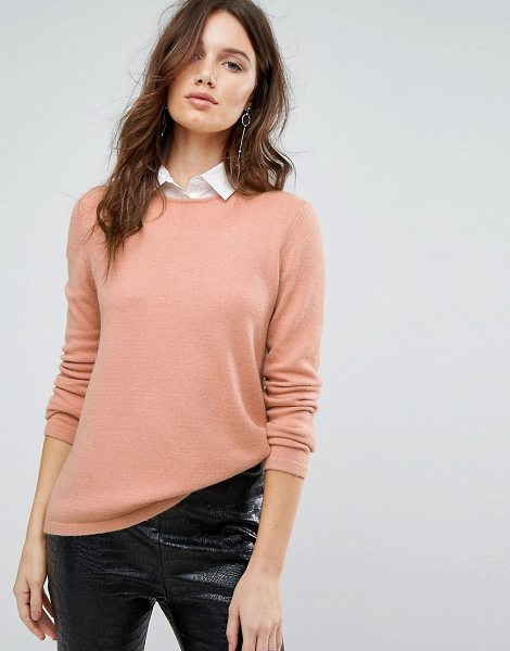 Y.a.s Knitted Sweater With Shirt Detail in pink - Sweater by Y.A.S, Cotton knit, Crew neck, Shirt insert...