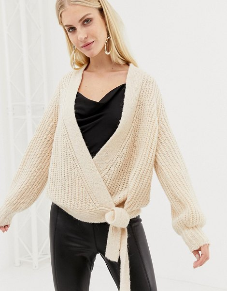 Y.a.s knitted wrap cardigan in creme