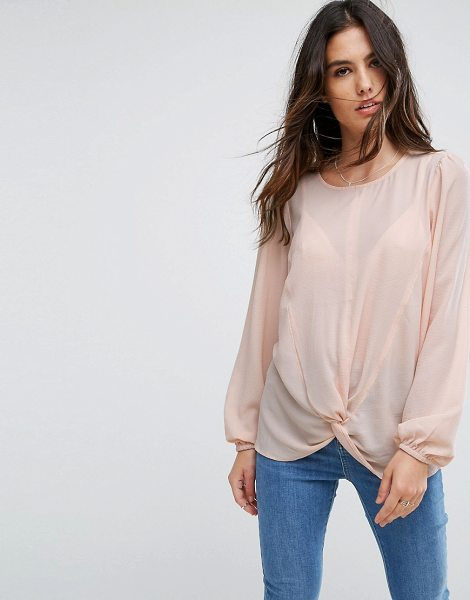 "Y.a.s knot top in peachpurple - """"Top by Y.A.S, Textured woven fabric, Round neck, Knot..."