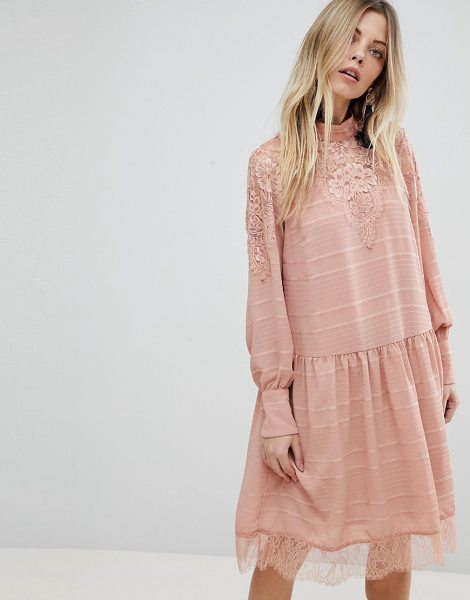 Y.a.s lace detail mini skater dress in pink in pink - Dress by Y.A.S, Some days call for a little extra, High...