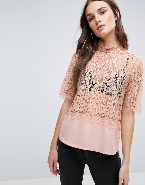 "Y.A.S Luna Lace Shell Top - """"Top by Y.A.S, Sheer lace, Woven hem, High neck, Short..."