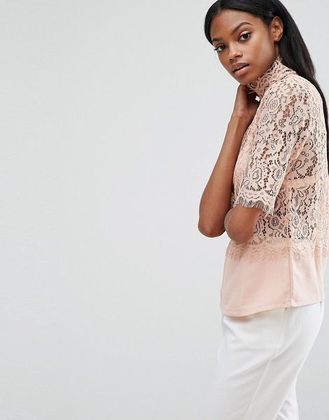 Y.a.s Luna Lace Top in pink - Top by Y.A.S, Sheer eyelash lace, High neck, Woven hem,...