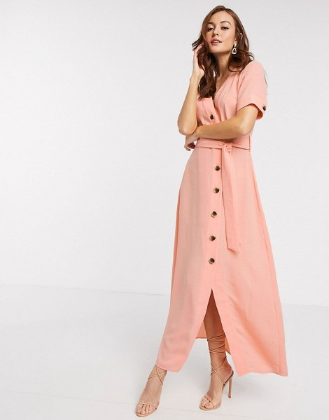 Y.a.s maxi dress with button through and tie waist in coral-pink in pink