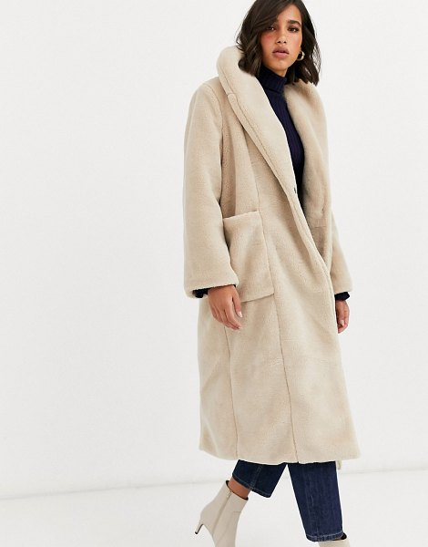 Y.a.s oversized faux fur maxi coat-cream in cream