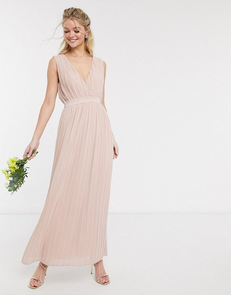 Y.a.s pleated maxi dress with deep v neck in pink-beige in beige