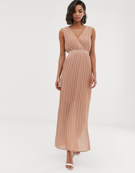 Y.a.s pleated wrap maxi dress in cafeaulait