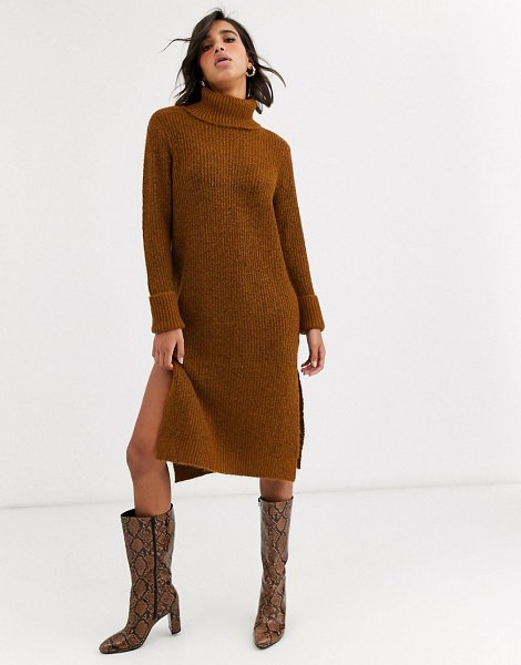 Y.a.s roll neck knitted dress with side splits-brown in brown