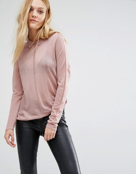 Y.a.s Sadie Fine Gage Sweater With Collar in pink - Sweater by Y.A.S, Fine knit, Semi-sheer finish, Ribbed...