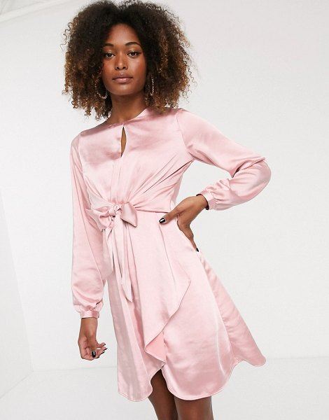 Y.a.s satin knot front dress-pink in pink