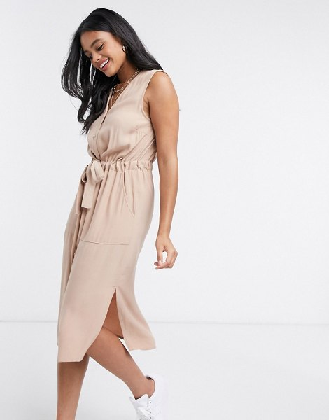 Y.a.s shirt dress with v neck and tie waist in beige-tan in tan