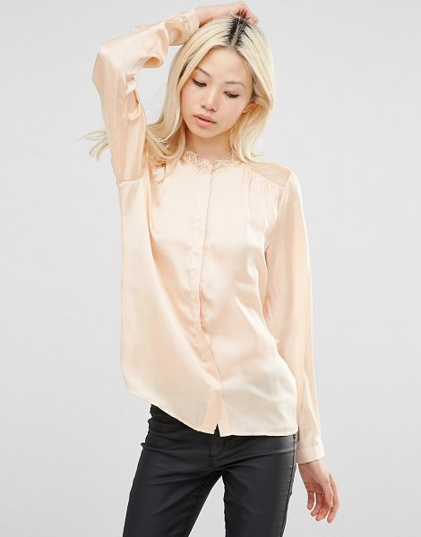 Y.a.s Shirt with lace shoulder inserts in amberlight - Top by Y.A.S. Lightweight satin Lace inserts High...