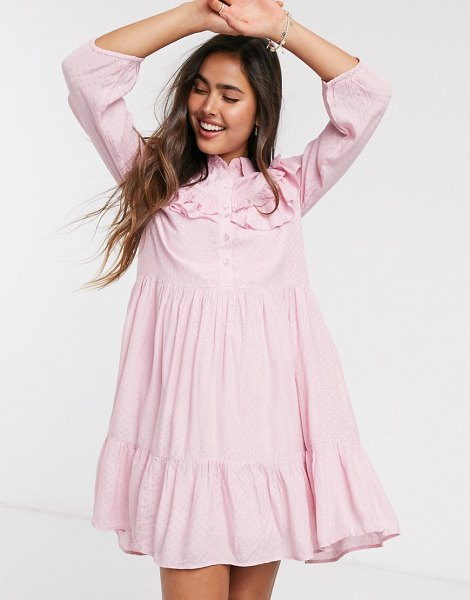 Y.a.s smock dress with ruffle detail in pink in pink