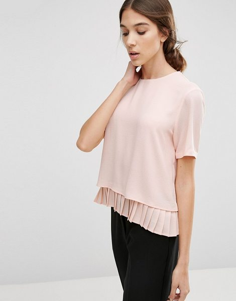 Y.a.s Special Top with Pleated Hem in pink - Top by Y.A.S, Smooth woven fabric, Crew neckline, Short...
