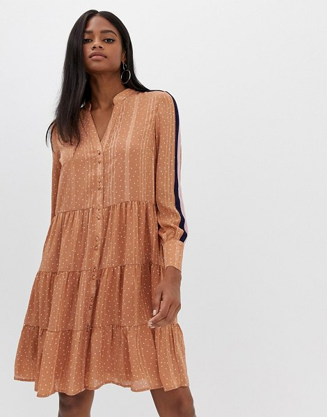 Y.a.s spot tiered dress with side stripe-brown in brown
