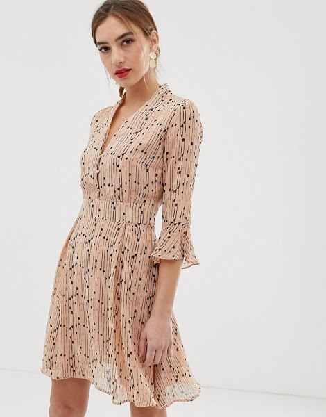 Y.a.s spotted skater dress in beige