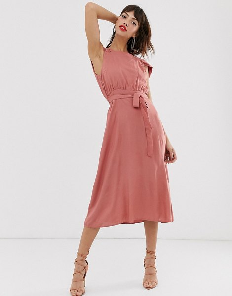 Y.a.s square neck midi dress with low drape back-pink in pink