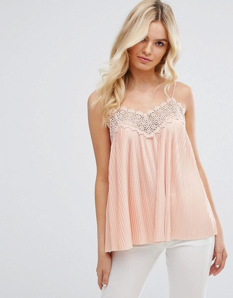 "Y.a.s Strap Top in pink - """"Top by Y.A.S, Pleated woven fabric, V-neck, Crochet..."