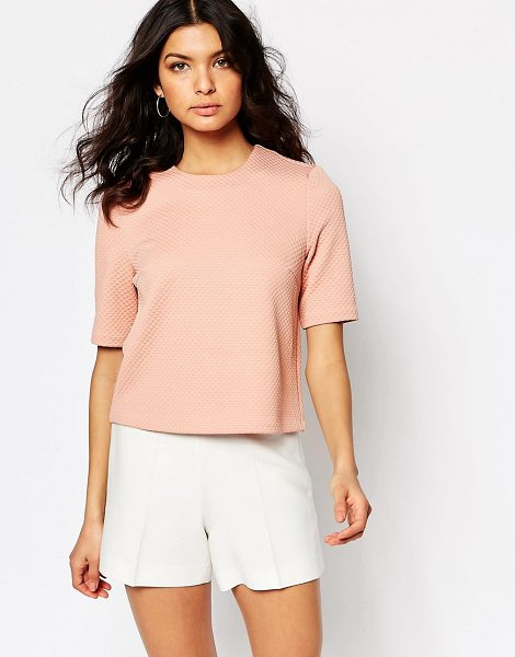 Y.a.s Structured Shell Top in pink - Top by Y.A.S, Waffle knit, Round neckline, Button...