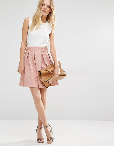 Y.a.s Structured Skater Skirt in pink - Skirt by Y.A.S, Waffle textured woven fabric, Structured...
