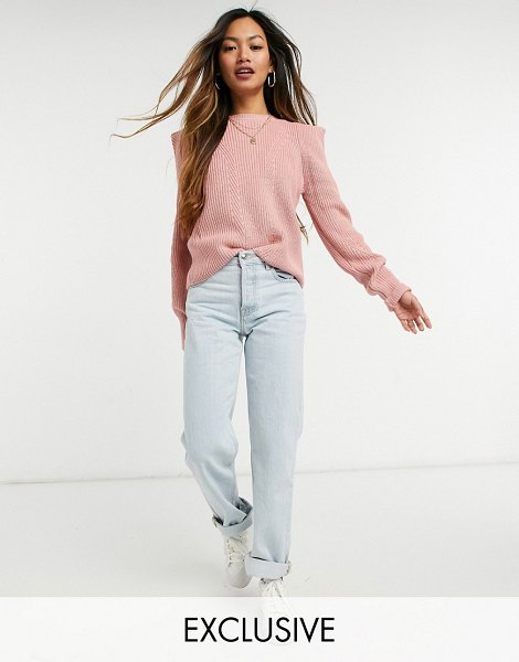 Y.a.s sweater with exaggerated shoulder in pink in pink