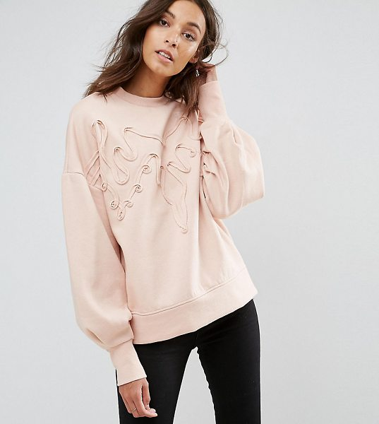 "Y.A.S Tall 3D Sweatshirt With Cuff Sleeve in pink - """"Sweatshirt by Y.A.S. Tall, Soft-touch sweat, Crew..."