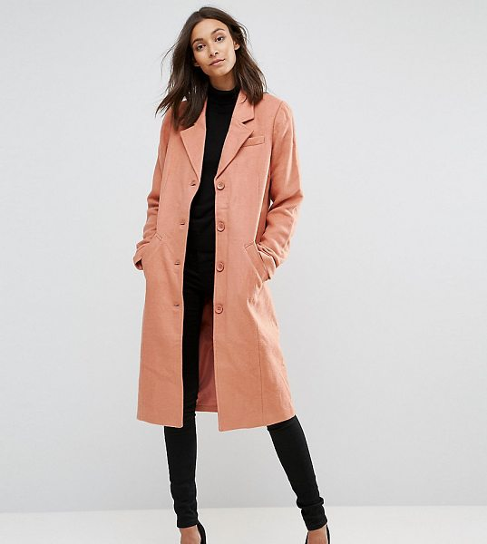 "Y.A.S Tall Button Down Peacoat in pink - """"Tall coat by Y.A.S. Tall, Lightweight woven fabric,..."