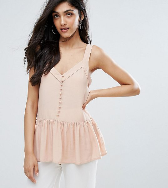 Y.A.S Tall Button Front Peplum Hem Cami Top in pink - Tall top by Y.A.S. Tall, Woven fabric, V-neck, Button...