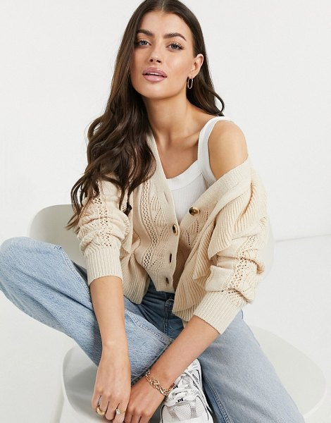 Y.a.s textured knit cardigan in pale pink in pink