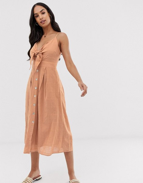 Y.a.s textured knot front summer dress in nude