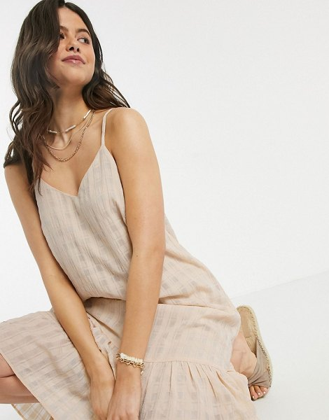 Y.a.s textured slip midi dress with pleated hem in beige in beige