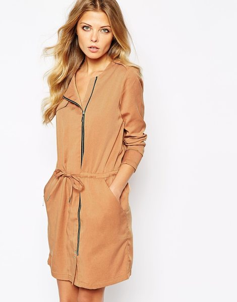 Y.a.s Theory coat dress in brown - Dress by Y.A.S. Soft twill fabric Collarless design Zip...
